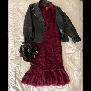 Burgundy Tory Burch Ruched Tulle Dress